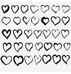 hand drawn heart set vector image vector image