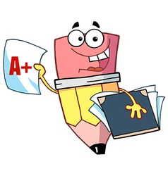Happy pencil guy holding an a plus report card vector