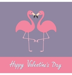 Happy valentines day pink flamingo couple neck vector
