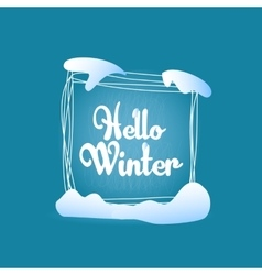 Hello winter quadrate blue greeting card vector