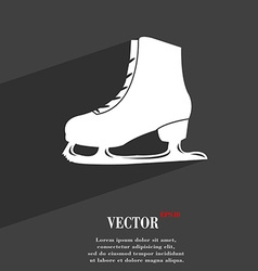Ice skate symbol Flat modern web design with long vector image