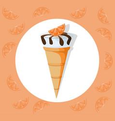 Icecream cone delicious icon flat style vector