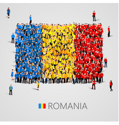 large group of people in the romania flag shape vector image vector image
