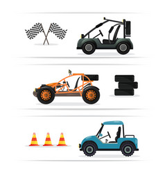 off road buggy car isolated set vector image