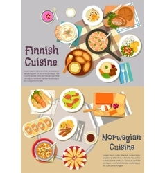 Popular dishes of finnish and norwegian cuisines vector