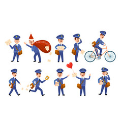 postman characters with bags and on bike set vector image vector image