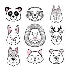 set of cute animal faces black white panda vector image vector image