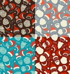 Set of seamless pattern of santa hats beards and vector