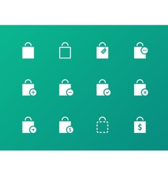 Shopping bag icons on green background vector