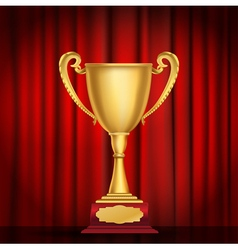 trophy golden cup vector image