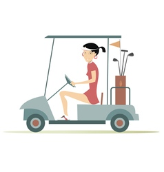 Woman in the golf cart vector