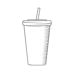 Plastic cup with a straw to drink vector