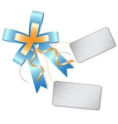 Blue ribbon bow and label vector