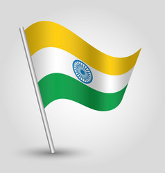 Waving simple triangle indian flag on slant vector