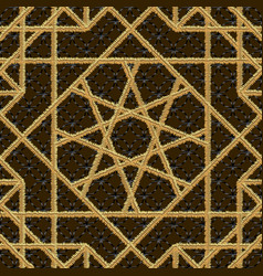 Arabic seamless pattern embroidery with gold vector