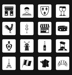 france travel icons set squares vector image