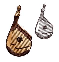 Bandura ukrainian music instrument isolated sketch vector