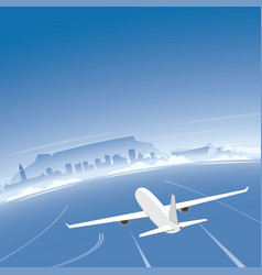 Cape town skyline flight destination vector