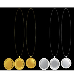 Locket and medallion necklaces in silver and gold vector