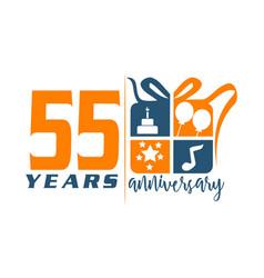 55 year gift box ribbon anniversa vector