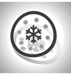 Snow sign sticker curved vector