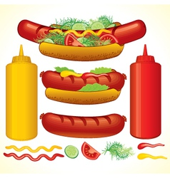 set of fast food isolated elements vector image