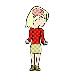 Comic cartoon clever woman shrugging shoulders vector