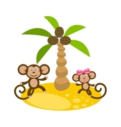 Dancing monkey couple near coconut palm tree clip vector