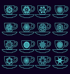 Set of collection cups with mandalas vector