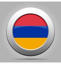 Metal button with flag of armenia vector
