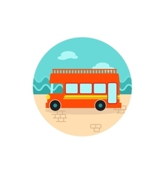 Double decker open top sightseeing city bus icon vector