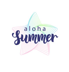 aloha summer hand written lettering vector image vector image