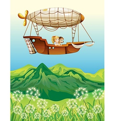 An airship carrying two young girls vector image vector image
