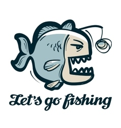 anglerfish logo fishing angling or fish vector image