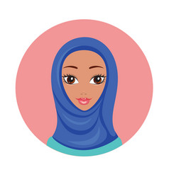 beautiful young happy muslim woman girl portrait vector image vector image