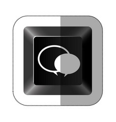 black button round chat bubbles icon vector image