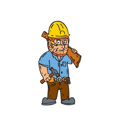 Carpenter builder hammer wood plank cartoon vector