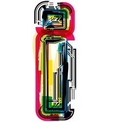 Colorful grunge font letter i vector