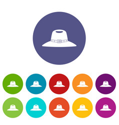 Cowboy hat icons set flat vector