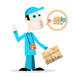 Delivery man with parcel vector