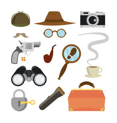 Detective items set tec agent accessories vector
