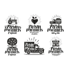 farm product label set agriculture farming icon vector image vector image