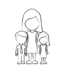 Figure woman her children icon vector