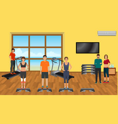 Fitness people in sports wear in the gym with vector