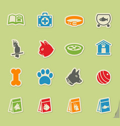 Goods for pets icon set vector