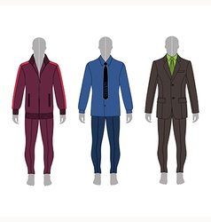 Gray silhouette figure in a suit shirt costume vector
