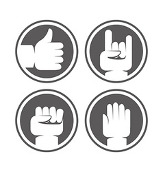 Hands and gestures signs in black and white colors vector