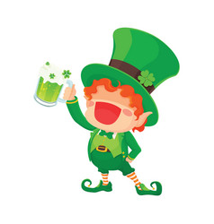 Happy leprechaun holding beer vector