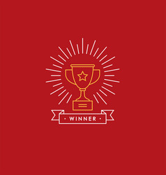 linear emblem with winner cup vector image vector image