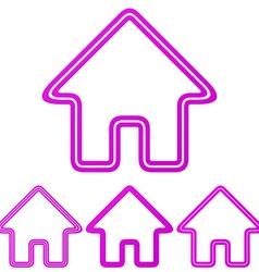 Magenta line house logo design set vector